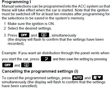 SAAB 9-5 , Klimata kontroles programēšana